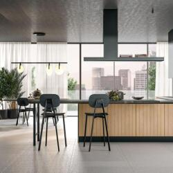 Argyrou Kitchens Clover Slattedtan Oak Black Thread